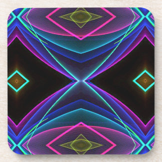 Cool Funky Neon Fluorescent Colored Pattern Beverage Coasters