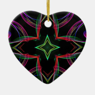 Cool Funky Neon Red Green Purple Abstract Ceramic Heart Ornament