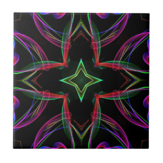 Cool Funky Neon Red Green Purple Abstract Tiles
