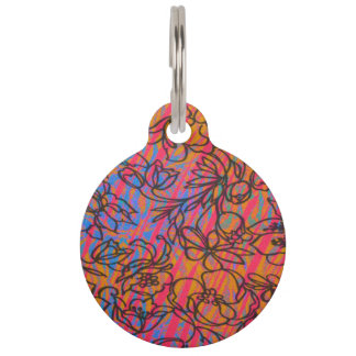 Cool Funky Painted Drawn Hawaiian Flowers Pet Name Tags