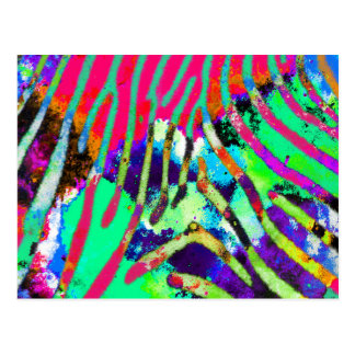 Cool Funky Psychedelic Hipster Multicolor Pattern Postcard