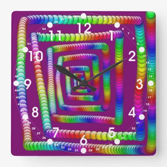 Cool Funky Rainbow Maze Rolling Marbles Design Square Wall