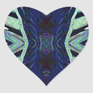 Cool Funky Shades of Blue Abstract Design Heart Sticker