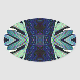 Cool Funky Shades of Blue Abstract Design Oval Sticker
