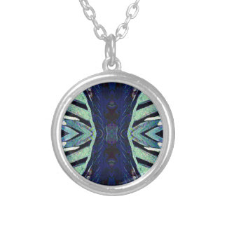 Cool Funky Shades of Blue Abstract Design Silver Plated Necklace