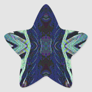 Cool Funky Shades of Blue Abstract Design Star Sticker