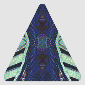 Cool Funky Shades of Blue Abstract Design Triangle Sticker