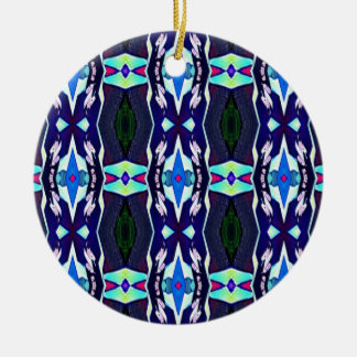 Cool Funky Tribal Kaleidoscope Pattern Ceramic Ornament