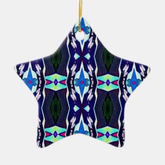Cool Funky Tribal Kaleidoscope Pattern Ceramic Star Ornament