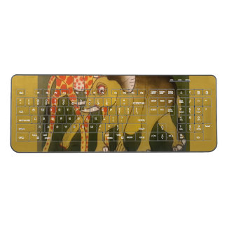Cool Funky Wild African elephant animal Print Wireless Keyboard