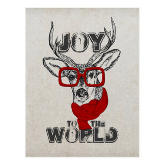 """Cool funny deer sketch """"Joy to the World"""" quote Post Card"""
