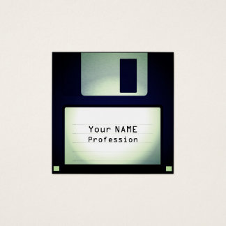 Cool funny floppy disc look square business card