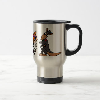 Cool Funny Fox Bride and Kangaroo Groom Wedding Travel Mug