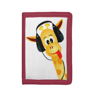 cool funny giraffe with headphones tri-fold wallets