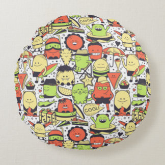 Cool Funny Monsters Round Pillow