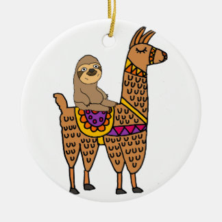Cool Funny Sloth Riding Llama Ceramic Ornament
