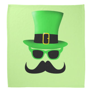 Cool Funny St. Patrick's Day Moustache Top hat Man Bandana