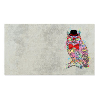 Cool funny trendy colourful watercolours owl pack of standard business cards