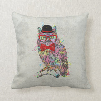 Cool funny trendy colourful watercolours owl throw pillow