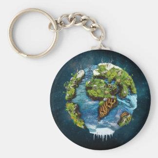 Cool Future Planet Earth Globe Design Basic Round Button Keychain