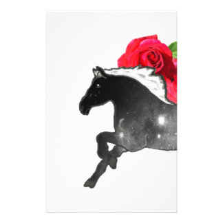 Cool Galazy Horse Black + White Nebula with Roses Personalized Stationery