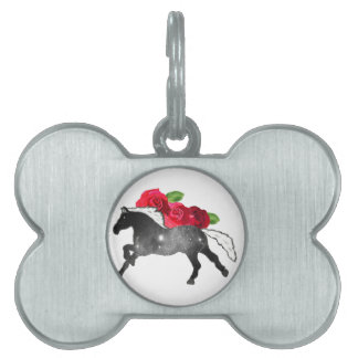 Cool Galazy Horse Black + White Nebula with Roses Pet ID Tags