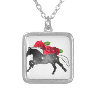 Cool Galazy Horse Black + White Nebula with Roses Silver Plated Necklace
