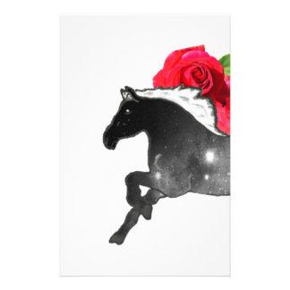 Cool Galazy Horse Black + White Nebula with Roses Stationery