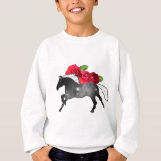 Cool Galazy Horse Black + White Nebula with Roses Sweatshirt