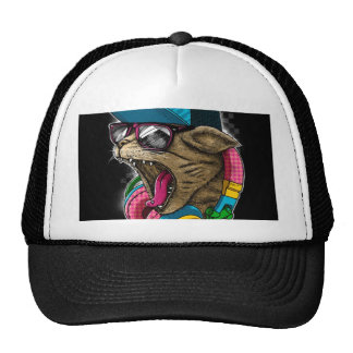 cool gangster rapping cat. trucker hat