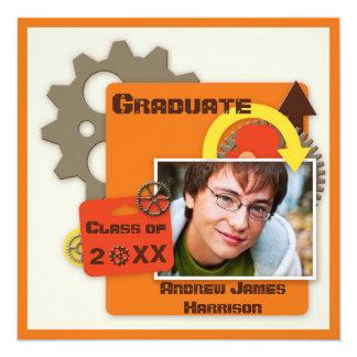 "Cool Gears Graduation Photo 5.25"" Square Invitation Card"