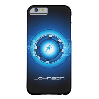 Cool Geek Blue Abstract Hi-Tech Concept Pattern Barely There iPhone 6 Case