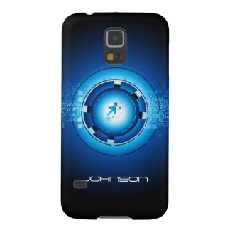Cool Geek Blue Abstract Hi-Tech Concept Pattern Case For Galaxy S5