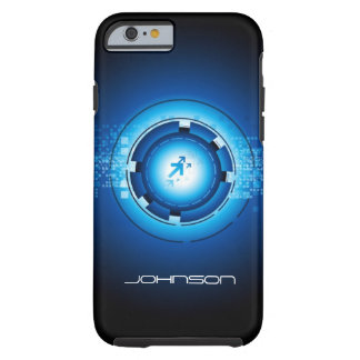 Cool Geek Blue Abstract Hi-Tech Concept Pattern Tough iPhone 6 Case