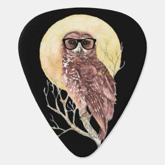 Cool Geek Owl in Glasses with Moon & Tree Humor Guitar Pick