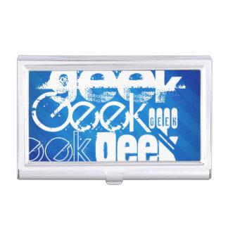Cool Geek; Royal Blue Stripes Business Card Holders