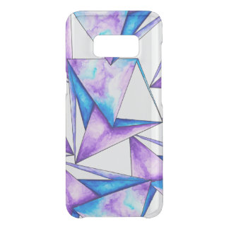 Cool geometric blue purple watercolor triangles uncommon samsung galaxy s8 case