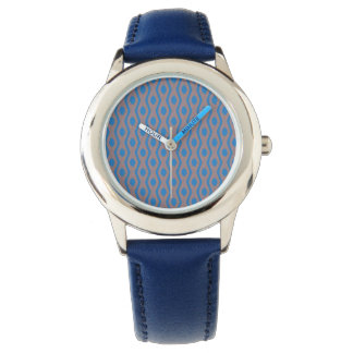 Cool Geometric Pattern Blue Leather Strap Watch
