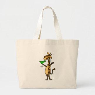 Cool Giraffe Drinking Margarita Cartoon Large Tote Bag