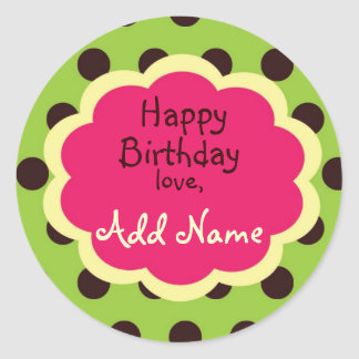 Cool Girl Funky PolkaDot Birthday Sticker