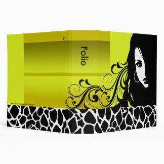 Cool Girl Giraffe Fashion Designer Porfolio (acid) 3 Ring Binders
