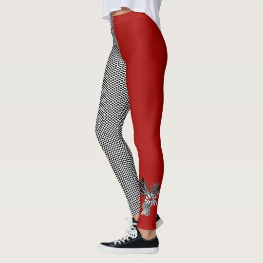 Cool Girl Red Black Dots Asymmertic Leggings