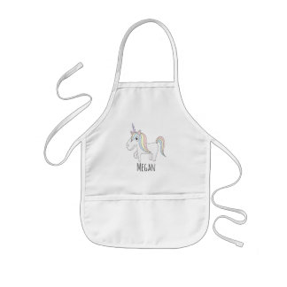 Cool Girl's Doodle Magical Unicorn with Name Kids Apron