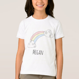 Cool Girl's Doodle Pastel Rainbow with Name T-Shirt