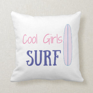 Cool Girls Surf Throw Pillow