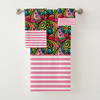 Cool Girly Graffiti & Stripes Bath Towel Set