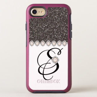 COOL GLITTER WHITE MONOGRAMMED iPHONE8/7 CASE