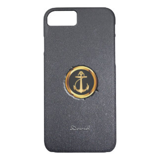 Cool Gold Anchor Black Stone iPhone 7 Case
