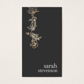 Cool Gold and Black Hand Drawn Floral Vine Business Card