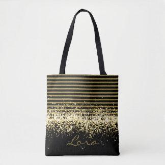 COOL  GOLD BLACK GLITTER NAME TOTE BAG